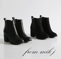 Plain Toe Plain Leather Chelsea Boots Chunky Heels