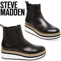 Steve Madden Platform Casual Style Unisex Plain Leather Chelsea Boots