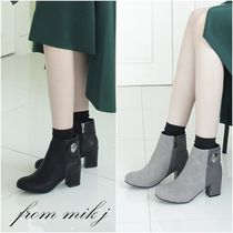 Plain Toe Bi-color Plain Leather Chunky Heels