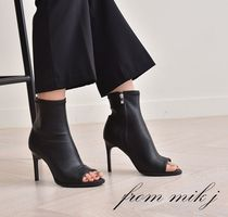Open Toe Plain Leather Pin Heels Ankle & Booties Boots