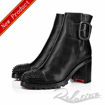 Christian Louboutin Round Toe Studded Plain Leather Block Heels Elegant Style