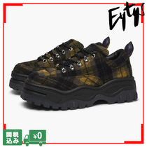 Eytys Tartan Platform Lace-up Casual Style Unisex Street Style