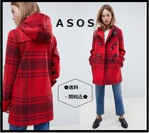 ASOS Other Check Patterns Casual Style Wool Duffle Coats