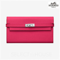 HERMES Kelly Calfskin Long Wallets