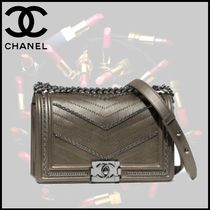 CHANEL BOY CHANEL Calfskin Blended Fabrics Studded 2WAY Chain Shoulder Bags