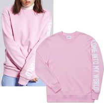 CLIF WEAR Casual Style Studded U-Neck Long Sleeves Cotton Medium