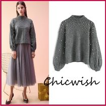 Chicwish Long Sleeves Medium High-Neck With Jewels Elegant Style