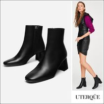 Uterque Plain Toe Plain Leather Block Heels Elegant Style