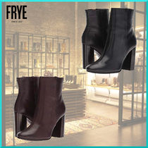 FRYE Plain Toe Plain Leather Block Heels Elegant Style