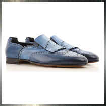 SANTONI Wing Tip Loafers Leather Loafers & Slip-ons