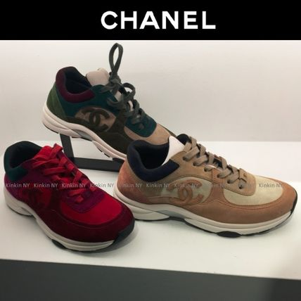 CHANEL Low-Top Lace-up Casual Style Suede Plain Khaki Low-Top Sneakers