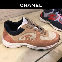 CHANEL Lace-up Casual Style Suede Plain Khaki Low-Top Sneakers