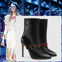 GUCCI Plain Leather Pin Heels Elegant Style Ankle & Booties Boots