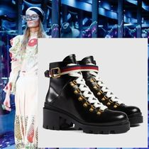 GUCCI Platform Casual Style Plain Leather Ankle & Booties Boots