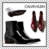 Calvin Klein Wing Tip Loafers Street Style Plain Leather Bold