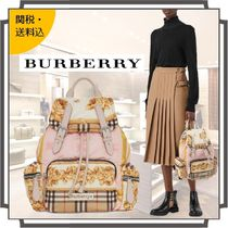 Burberry Other Check Patterns Flower Patterns Casual Style Nylon