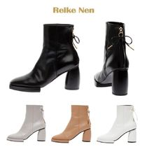 Reike Nen Square Toe Leather Block Heels Ankle & Booties Boots
