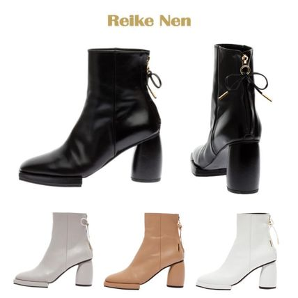 Square Toe Leather Block Heels Ankle & Booties Boots