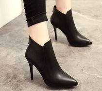 Faux Fur Pin Heels Elegant Style Ankle & Booties Boots