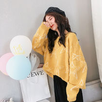 Cable Knit Star Casual Style U-Neck Long Sleeves Plain