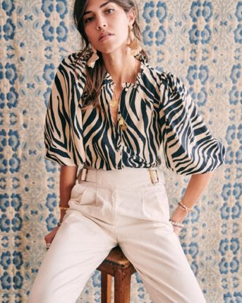 Zebra Patterns Casual Style Long Sleeves Shirts & Blouses