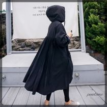 Casual Style Plain Long Oversized Outerwear