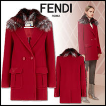 FENDI Wool Plain Medium Elegant Style Peacoats