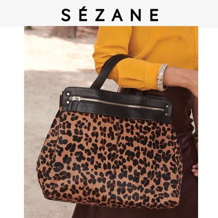 Leopard Patterns Casual Style Leather Handbags
