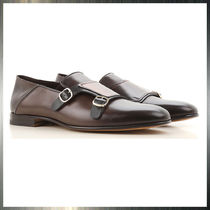 SANTONI Plain Toe Monk Leather Loafers & Slip-ons