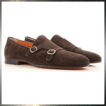 SANTONI Plain Toe Monk Suede Loafers & Slip-ons