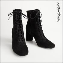 & Other Stories Lace-up Suede Plain Block Heels Lace-up Boots