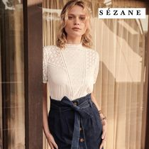 SEZANE Other Check Patterns Casual Style Long Sleeves Cotton