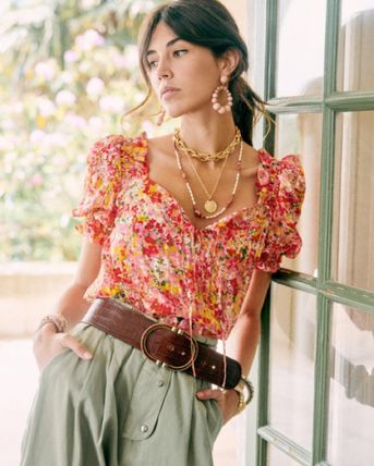 Flower Patterns Casual Style Short Sleeves Shirts & Blouses