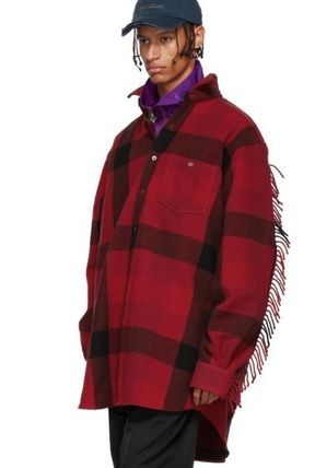VETEMENTS Shirts Button-down Other Check Patterns Unisex Wool Street Style 5