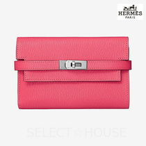 HERMES Kelly Leather Folding Wallets