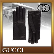 GUCCI Street Style Leather Leather & Faux Leather Gloves