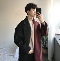 Street Style Bi-color Long Oversized Bold Chester Coats