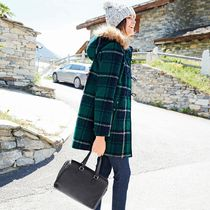 Mademoiselle R Tartan Wool Medium Duffle Coats
