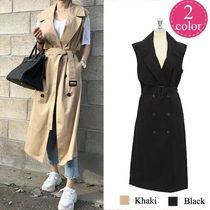 Stand Collar Coats Casual Style Plain Long Trench Coats