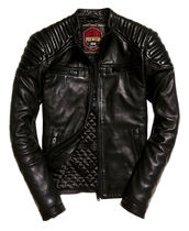 Superdry Short Street Style Plain Leather Biker Jackets