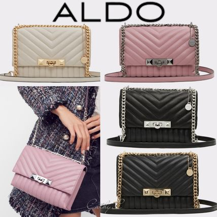 Blended Fabrics 2WAY Chain Plain Elegant Style Shoulder Bags