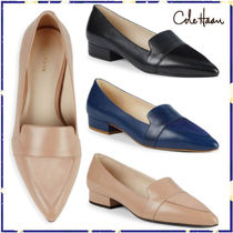 Cole Haan Plain Leather Block Heels Loafer Pumps & Mules