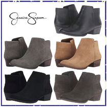 Jessica Simpson Round Toe Plain Leather Block Heels Ankle & Booties Boots
