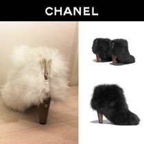 CHANEL Sheepskin Plain Elegant Style Ankle & Booties Boots