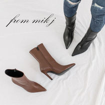 Faux Fur Plain Pin Heels Party Style High Heel Boots