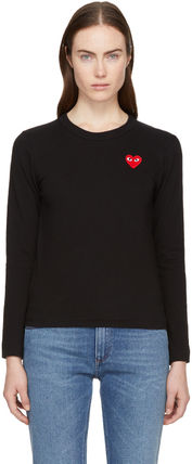 Crew Neck Heart Long Sleeves Cotton T-Shirts
