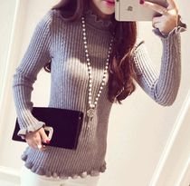 Lace-up Casual Style Long Sleeves Plain Cotton Medium