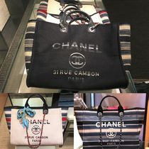 CHANEL Stripes Canvas 2WAY Chain Elegant Style Totes