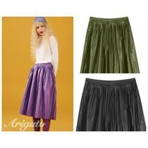 ELF SACK Casual Style Faux Fur Pleated Skirts Street Style Plain