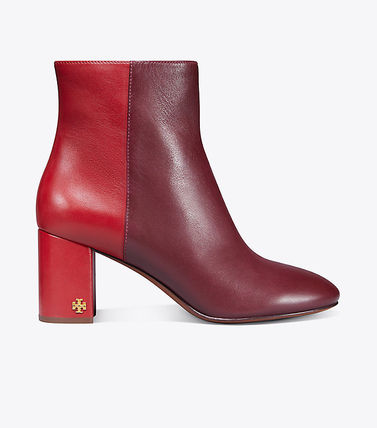 Tory Burch Ankle & Booties Round Toe Bi-color Plain Leather Block Heels Elegant Style 9